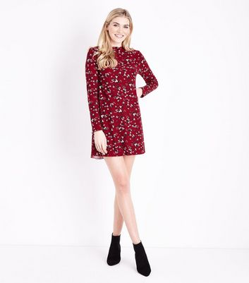 Red Floral Print Long Sleeve Dress New Look