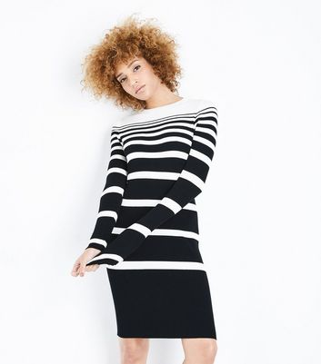 Black Ribbed Graduated Stripe Jumper Dress New Look