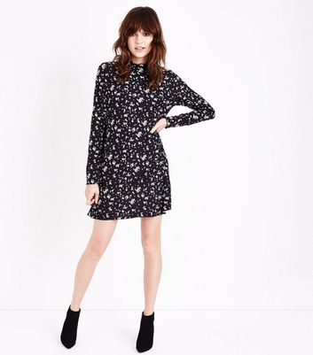 Black Floral High Neck Swing Dress New Look