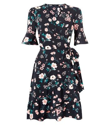 Tall Black Floral Print Bell Sleeve Wrap Dress New Look