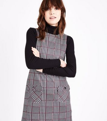 Black Check Pocket Front Pinafore Dress New Look