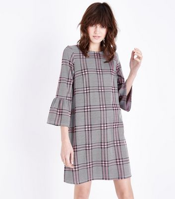 Pink Check Bell Sleeve Tunic Dress New Look