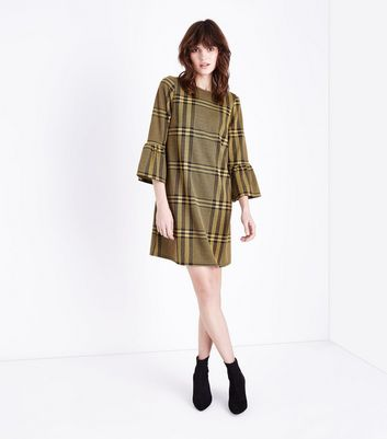 Mustard Yellow Check Bell Sleeve Tunic Dress New Look