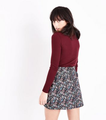 Black Floral Jacquard Mini Skirt New Look