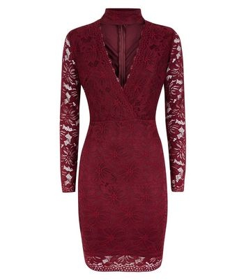 AX Paris Burgundy Lace Choker Neck Dress New Look