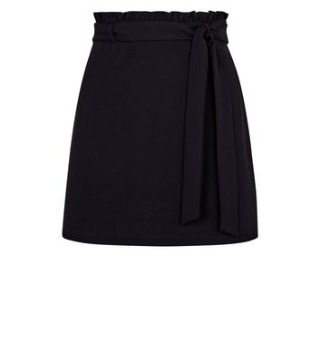 Petite Black Crepe Paper Bag Waist Mini Skirt New Look