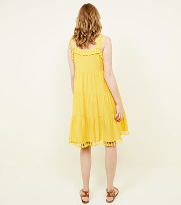 Blue Vanilla Yellow Tassel Trim Dress New Look