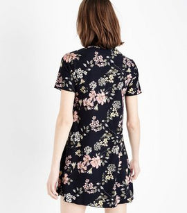 Black Floral Soft Touch Scallop Neck Dress New Look