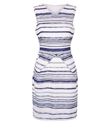 Mela White Stripe Lace Dress New Look
