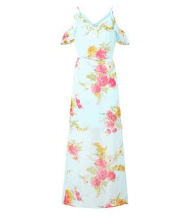 Mela Mint Green Floral Cold Shoulder Maxi Dress New Look