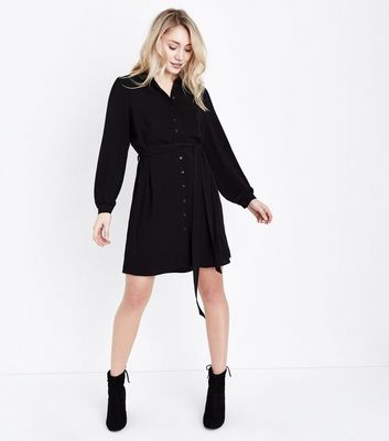 Petite Black Balloon Sleeve Belted Shirt Dress New Look
