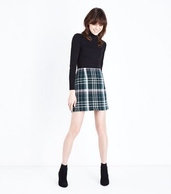 Green Brushed Check Mini Skirt New Look