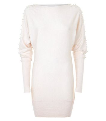 QED Stone Pearl Embellished Jumper Dress New Look