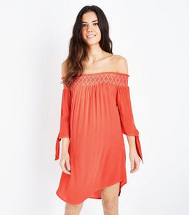 Coral Neon Shirred Bardot Neck Beach Dress New Look