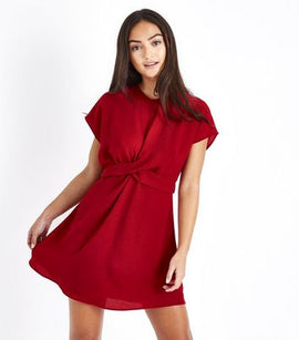 Petite Red Twist Front Tie Back Dress New Look