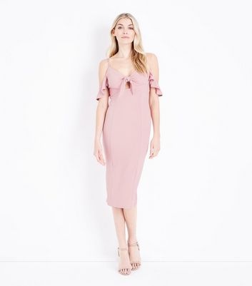 Pale Pink Cold Shoulder Tie Front Midi Dress New Look