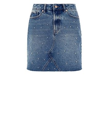 Blue Studded High Waist Denim Mini Skirt New Look