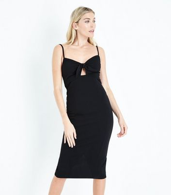 Black Bow Front Bodycon Midi Dress New Look