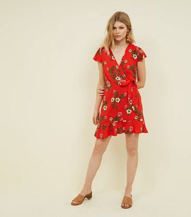 Petite Red Floral Tie Side Mini Dress New Look