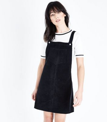 Black Corduroy Pocket Front Pinafore Dress New Look