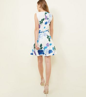 Mela White Rose Print Belted Skater Dress New Look