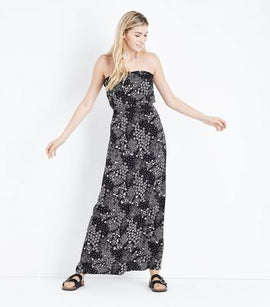 Black Fold Floral Bandeau Maxi Dress New Look