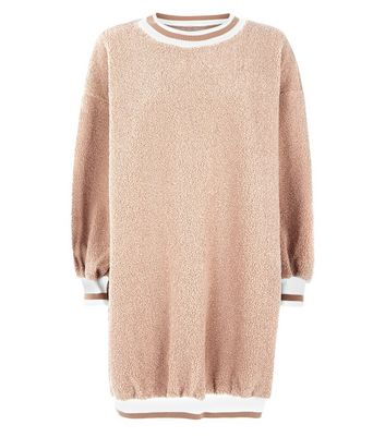 Cameo Rose Light Brown Faux Fur Teddy Jumper Dress New Look