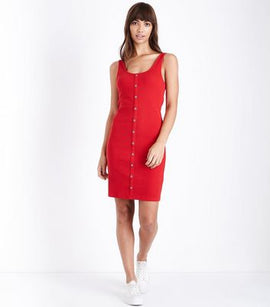 Red Ribbed Button Front Bodycon Dress New Look
