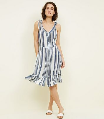 Blue Vanilla White Stripe Button Front Sundress New Look