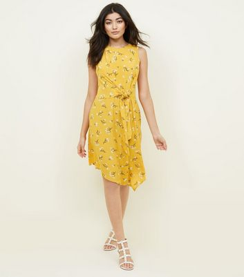 Yellow Floral Tie Side Asymmetric Dress New Look