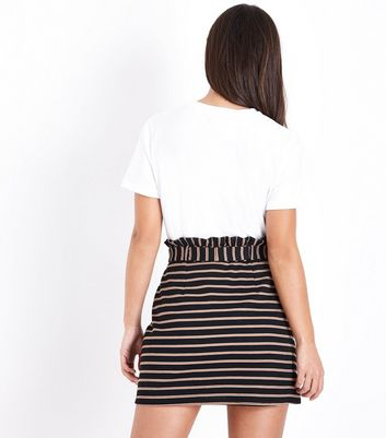Petite Black Stripe Paperbag Waist Skirt New Look