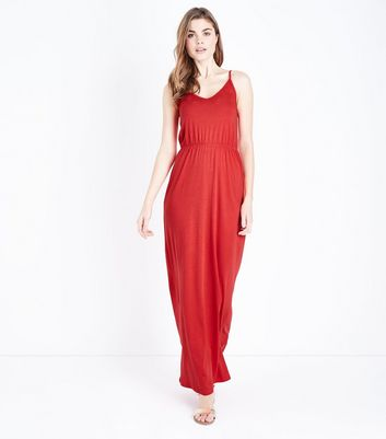 aa4fd1312b52 Red Jersey V Neck Maxi Dress New Look – Dresses247