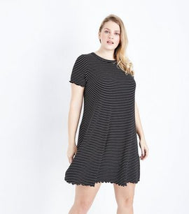 Curves Black Stripe Frill Hem Swing Dress New Look
