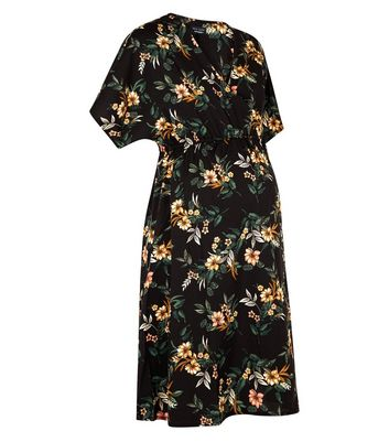 Maternity Black Floral Wrap Front Dress New Look
