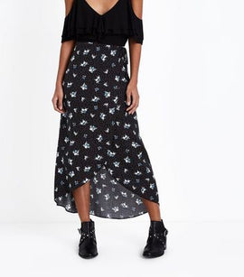 Black Ditsy Floral Wrap Front Maxi Skirt New Look