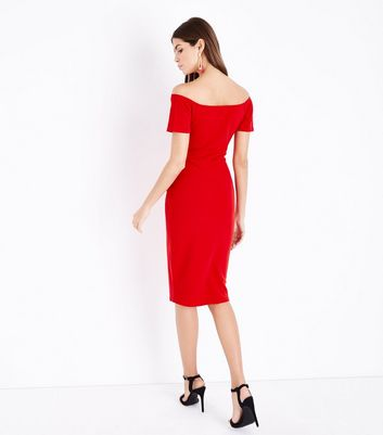 Red Twist Front Sweetheart Bodycon Midi Dress New Look
