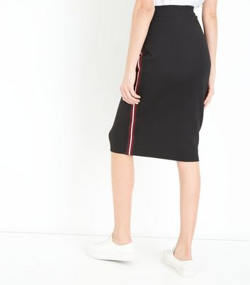 Tall Black Side Stripe Jersey Pencil Skirt New Look