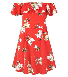 80277c460a6b Cameo Rose Red Floral Print Bardot Neck Skater Dress New Look