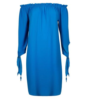 Cameo Rose Blue Frill Bardot Neck Dress New Look