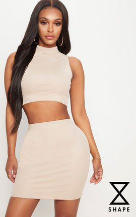 Shape Nude Mesh Bodycon Skirt- Pink