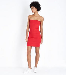 Red Ribbed Bodycon Bandeau Dress New Look