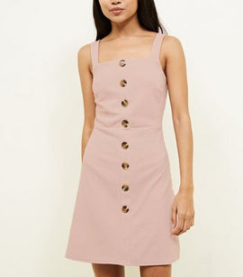 Petite Pale Pink Button Front Pinafore Dress New Look