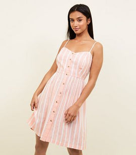 Petite Pink Woven Stripe Button Front Sundress New Look