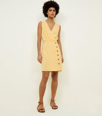 Yellow Linen-Look Button Front Wrap Dress New Look