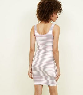 Pink Stripe Ribbed Bodycon Dress New Look
