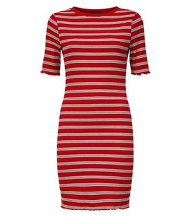 Red Stripe Ribbed Bodycon Dress New Look