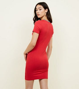Red Tipped Neck Ribbed Bodycon Dress New Look