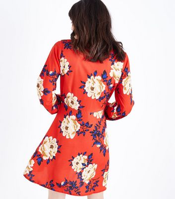 Influence Red Floral Collar Neck Dress New Look