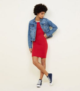 Red Contrast Binding Bodycon Dress New Look