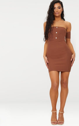 Brown Bardot Popper Detail Bodycon Dress- Brown